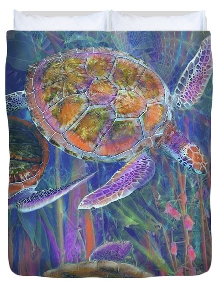 Magical Sea Turtles  Duvet Cover