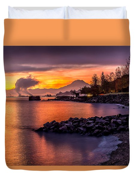 Magical Sunrise On Commencement Bay Duvet Cover
