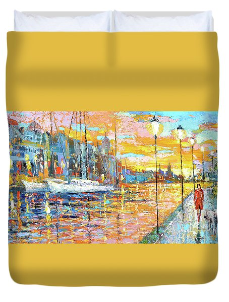 Duvet Cover featuring the painting Magical Sunset by Dmitry Spiros