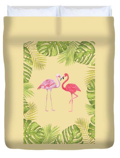 Duvet Cover featuring the painting Magical Tropicana Love Flamingos And Leaves by Georgeta Blanaru