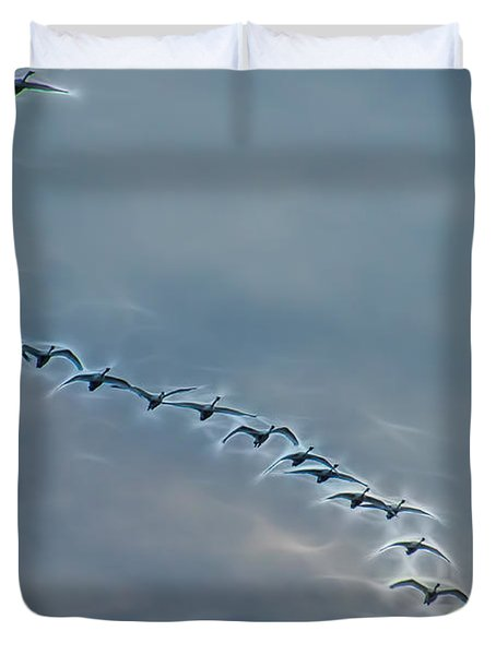 Magical Tundra Swan Fly-over Duvet Cover