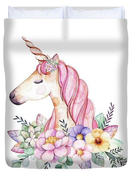 Magical Watercolor Unicorn Duvet Cover