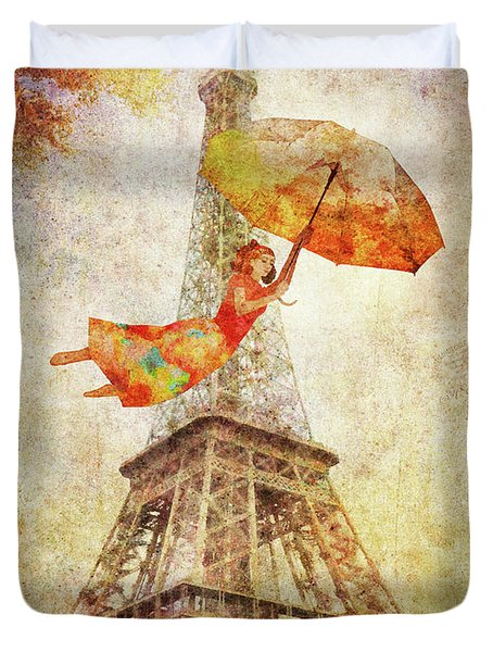 Duvet Cover featuring the digital art Magically Paris by Christina Lihani