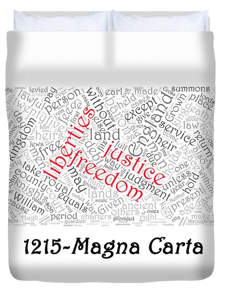 Magna Carta Word Cloud 1 Duvet Cover by Richard Reeve