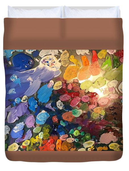 Duvet Cover featuring the painting Magnetic Paint Palette by Tanielle Childers