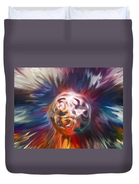 Duvet Cover featuring the digital art Magnetic Sphere by Linda Sannuti