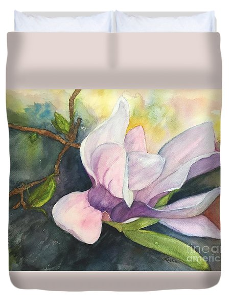 Duvet Cover featuring the painting Magnificent Magnolia by Lucia Grilletto