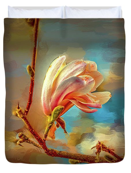Duvet Cover featuring the digital art Magnolia Abs #h4 by Leif Sohlman
