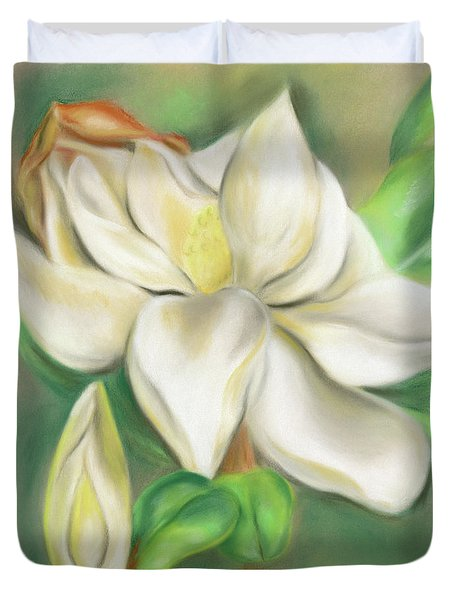 Duvet Cover featuring the pastel Magnolia Blossom And Bud by MM Anderson