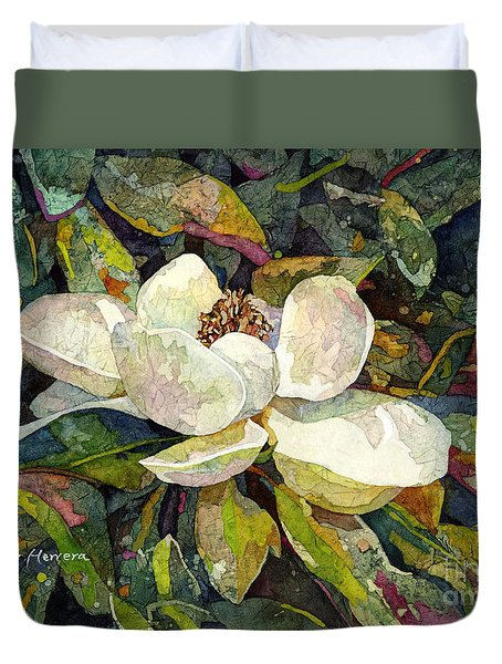Duvet Cover featuring the painting Magnolia Blossom by Hailey E Herrera