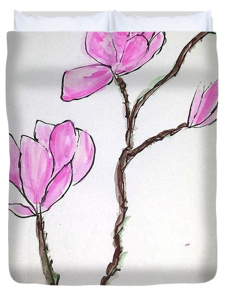 Duvet Cover featuring the painting Magnolia Blossoms by Margaret Welsh Willowsilk