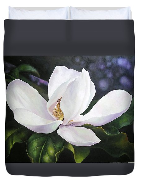 Magnolia Flower Duvet Cover by Chris Hobel