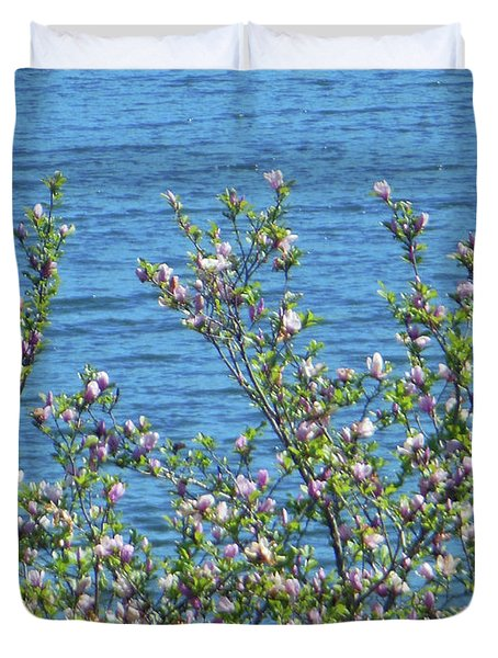 Magnolia Flowering Tree Blue Water Duvet Cover