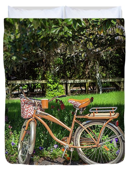 Magnolia Gardens Bicycle Duvet Cover