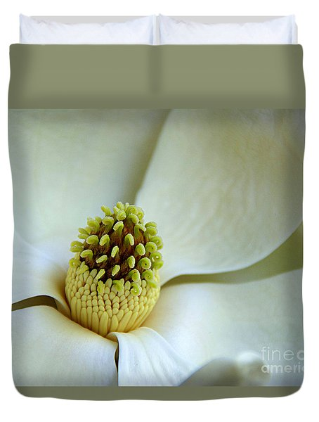 Duvet Cover featuring the photograph Magnolia Heart by Lisa L Silva