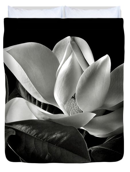 Magnolia In Black And White Duvet Cover