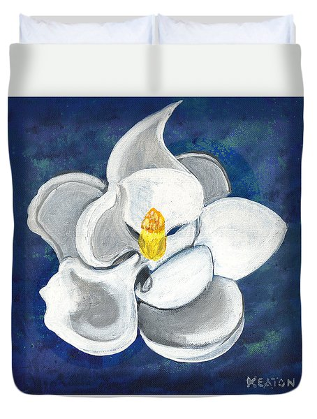Duvet Cover featuring the painting Magnolia by John Keaton