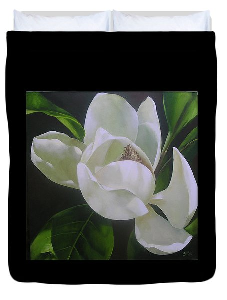 Magnolia Light Duvet Cover by Chris Hobel