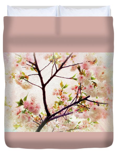 Duvet Cover featuring the photograph Asian Cherry Blossoms by Jessica Jenney