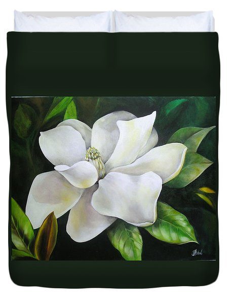 Magnolia Oil Painting Duvet Cover by Chris Hobel