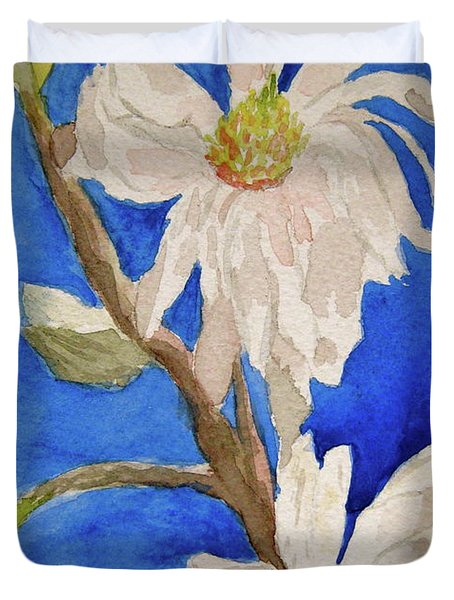 Magnolia Stellata Blue Skies Duvet Cover by Beverley Harper Tinsley