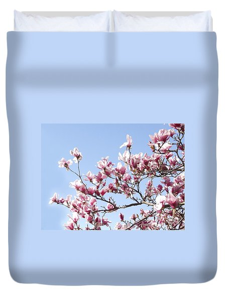 Magnolia Tree Against Blue Sky Duvet Cover by Carol Sweetwood