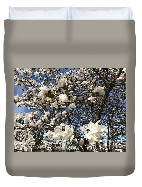 Duvet Cover featuring the photograph Magnolia Tree In Blossom by Patricia Hofmeester