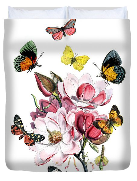 Magnolia With Butterflies Duvet Cover