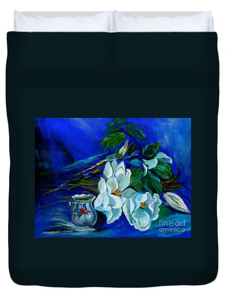 Magnolias And Cream Duvet Cover by Jenny Lee