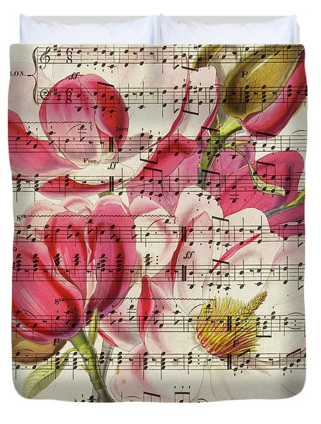 Magnolias And Music Sheet Duvet Cover