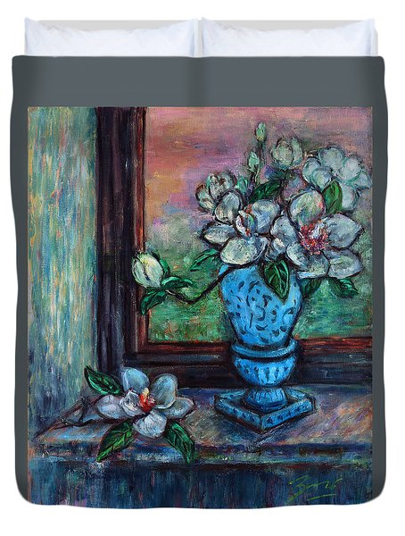 Duvet Cover featuring the painting Magnolias In A Blue Vase By The Window by Xueling Zou