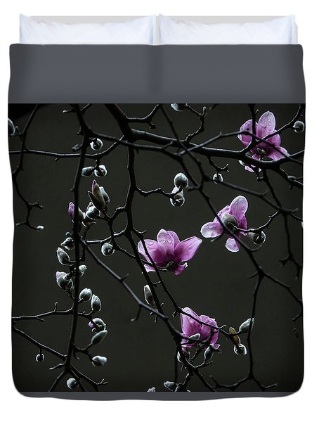 Magnolias In Rain Duvet Cover
