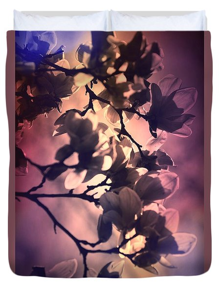 Duvet Cover featuring the pyrography Magnolias by Karen Kersey