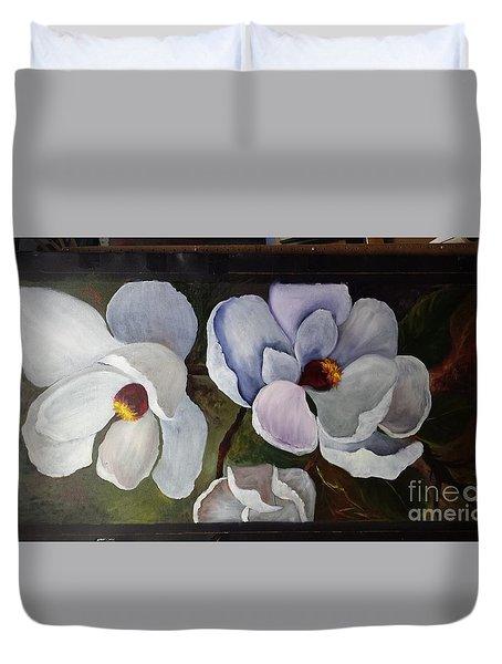 Magnolias White Flower Duvet Cover