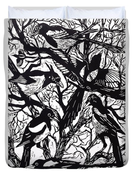 Magpies Duvet Cover by Nat Morley