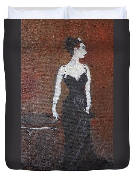 Duvet Cover featuring the painting Mah Lady by Gary Smith