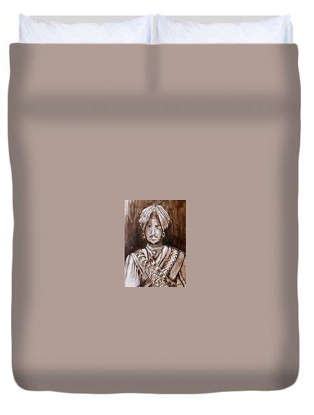 Maharajah Duleep Singh Black And White Portrait  Duvet Cover