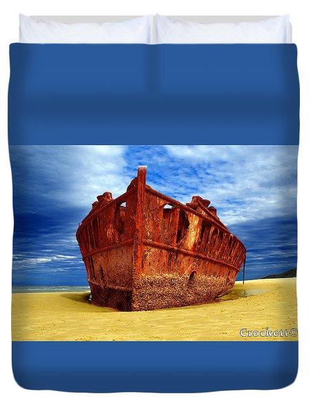 Duvet Cover featuring the photograph Maheno Shipwreck Fraser Island Queensland Australia by Gary Crockett