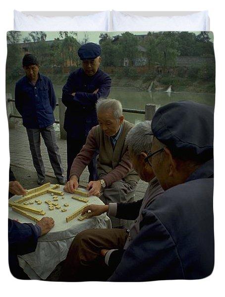 Mahjong In Guangzhou Duvet Cover