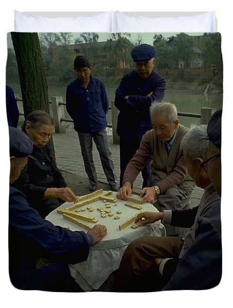 Duvet Cover featuring the photograph Mahjong In Guangzhou by Travel Pics