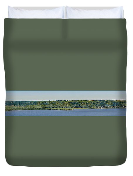 Duvet Cover featuring the photograph Maiden Rock, Wi by Dan Traun