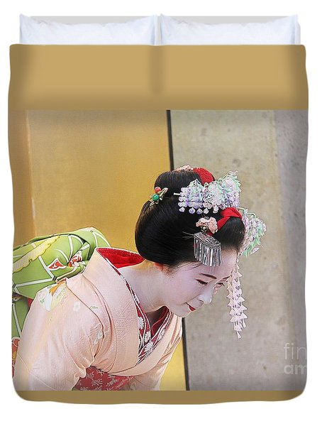 Duvet Cover featuring the photograph Maiko by Yumi Johnson