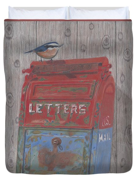 Duvet Cover featuring the painting Mail Call by Arlene Crafton