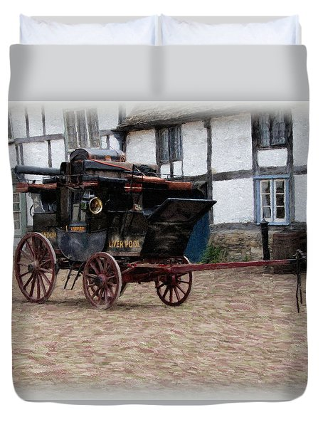 Duvet Cover featuring the digital art Mail Coach At Lacock by Paul Gulliver