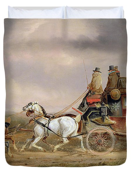 Mail Coaches On The Road - The Louth-london Royal Mail Progressing At Speed Duvet Cover by Charles Cooper Henderson