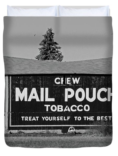 Mail Pouch Tobacco In Black And White Duvet Cover