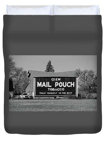 Mail Pouch Tobacco In Black And White Duvet Cover by Michiale Schneider