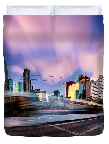 Main And Bell St Downtown Houston Texas Duvet Cover