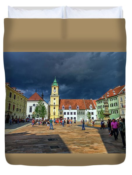 Main Square In The Old Town Of Bratislava, Slovakia Duvet Cover