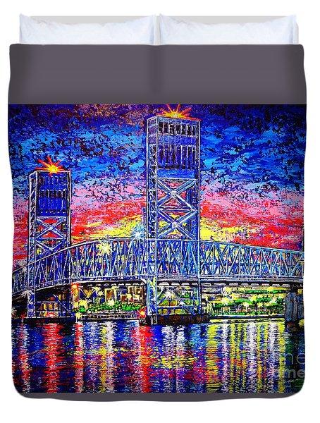 Duvet Cover featuring the painting Main St. Bridge by Viktor Lazarev